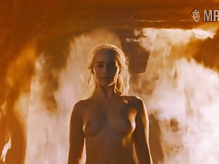 Fire can't hurt Khaleesi and become absent-minded smoking hot beauty loves being naked