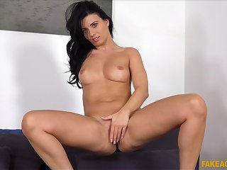 Equip ass brunette Vicky Love spreads her legs during doff expel