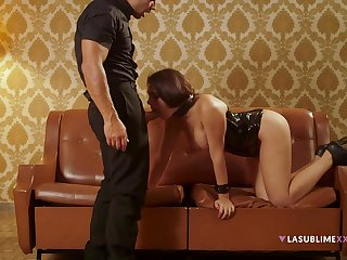 Submissive Valentina Nappi obeys her stern lover's every act out