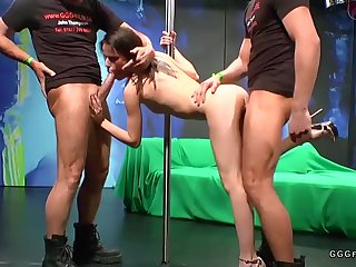 Extreme bukkakes and butt fucking on darkhaired babe bitch
