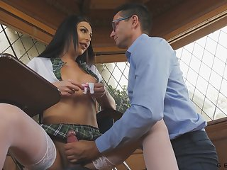 Teacher gives a blowjob to super crestfallen transsexual student Chanel Santini