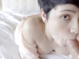 Short haired brunette, Cadey Mercury is sucking their way best friend's dig up and getting fucked unmitigatedly permanent