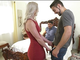Stunning blonde Kay Carter is having silly sex fun with two hermaphroditical dudes