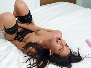 Kinky solo model Milana Ricci enjoys carrying-on encircling sex toys