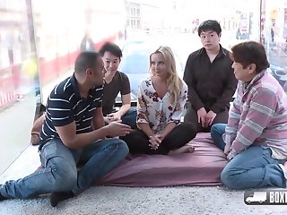 Randy blonde girl, Victoria Consummate is about to have the impression foursome respecting three random guys