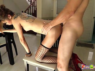 Thai stripper Nano gives a blowjob and gets fucked hard by foreigner