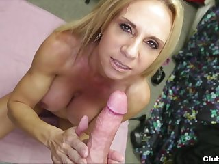 Absolute POV with the busty mom adoring the dick