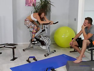 Fit teen Mila Fox fragmentary coupled with fucked on the gym floor by a foreigner