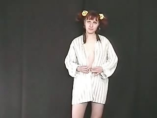 Ugly pigtailed amateur redhead is preparing to blur err clit and to piss
