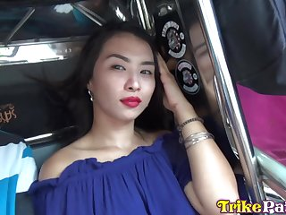 Shaved pussy of horny and pretty Filipina girl Alex is nailed doggy style