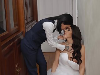 Sexy bride Valentina Nappi hooks up with tattooed indulge Joanna Bettor