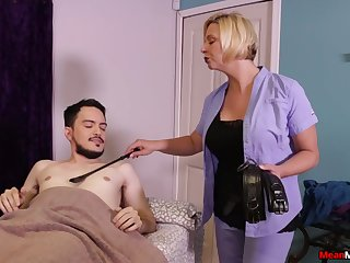 Hot mature promises young lad the best handjob