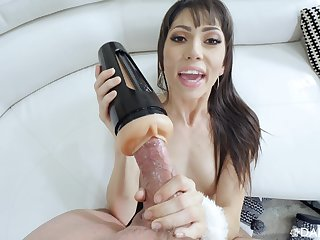 MILf uses fleshlight before putting her mouth on the monster