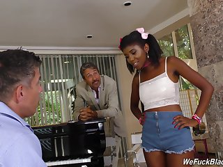 Son added to sky pilot bang pretty hot ebony teen Daizy Cooper added to cum on her face