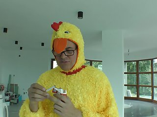 Guy dressed helter-skelter a chicken suit ends up fucking the teenager
