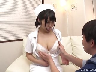 Simple boobs Japanese nurse takes off her uniform to essay carnal knowledge