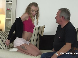 Young student Angel Emily gets intimate with sex-starved senior