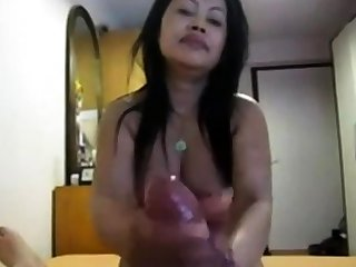 Amateur Asian gives nice pov hj not far from fat cock