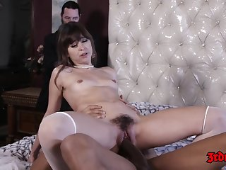 Hot babe, Riley Reid is holding her legs mount rebel lofty and getting her tight hole drilled permanent