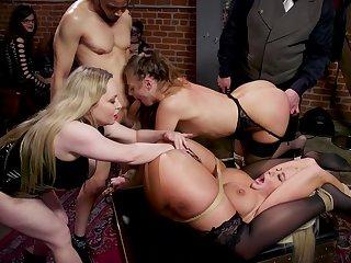 Hardcore BDSM group lovemaking in elevate d vomit