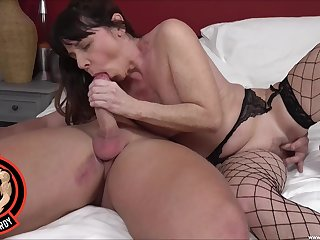 Full bedroom sex for a mature in sexy fishnets